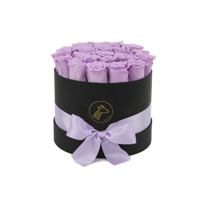 Шляпная коробка small 17-25 сиреневых роз