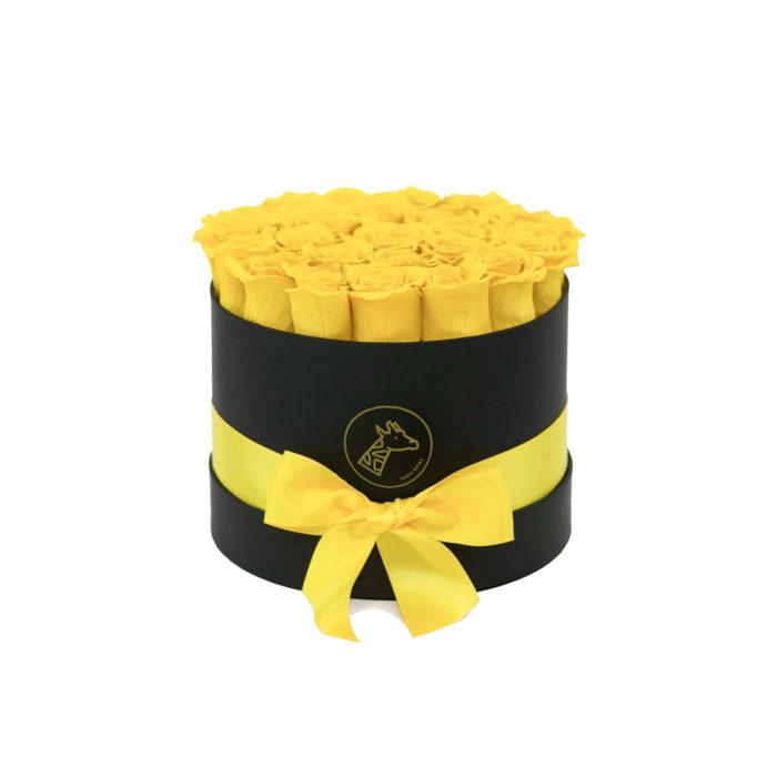 Шляпная коробка small 17-25 желтых роз