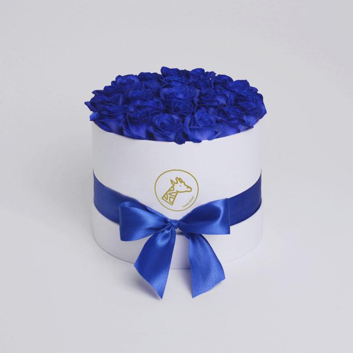 Шляпная коробка small 17-25 синих роз
